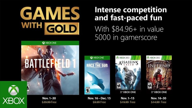 Games with Gold: Free games for November 2018